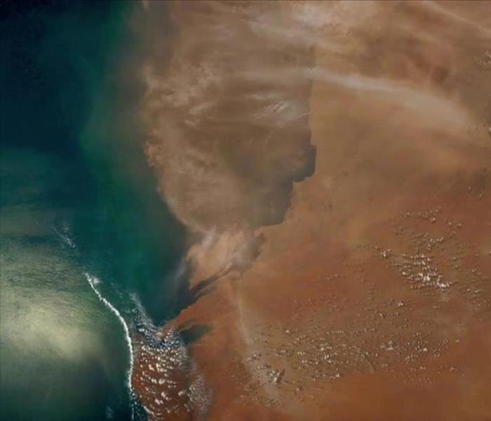 arial view of African dust storm